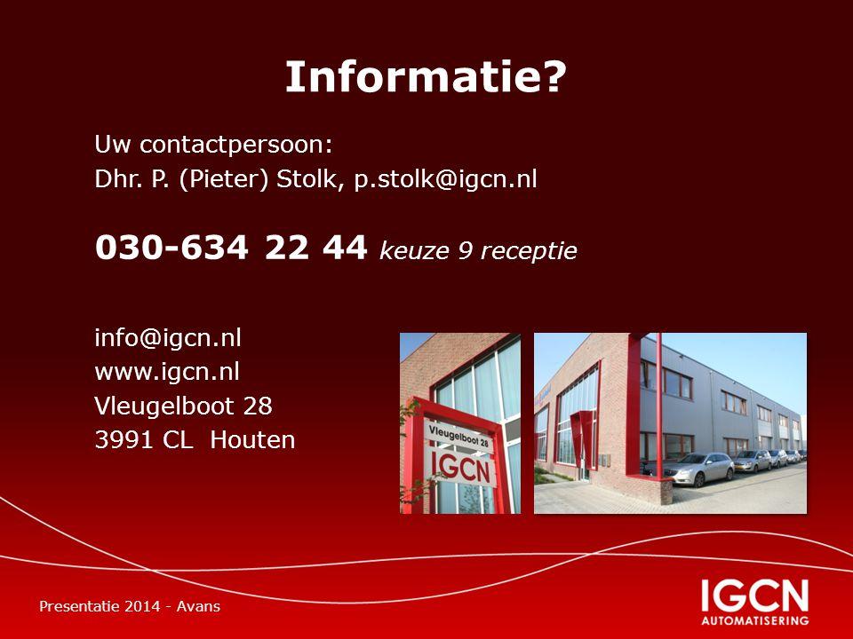 Informatie. Uw contactpersoon: Dhr. P.