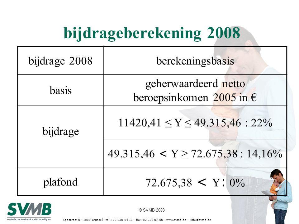 © SVMB 2008 Spastraat 8 - 1000 Brussel - tel.: 02 238 04 11 - fax: 02 230 87 58 - www.svmb.be - info@svmb.be bijdrageberekening 2008 bijdrage 2008bere
