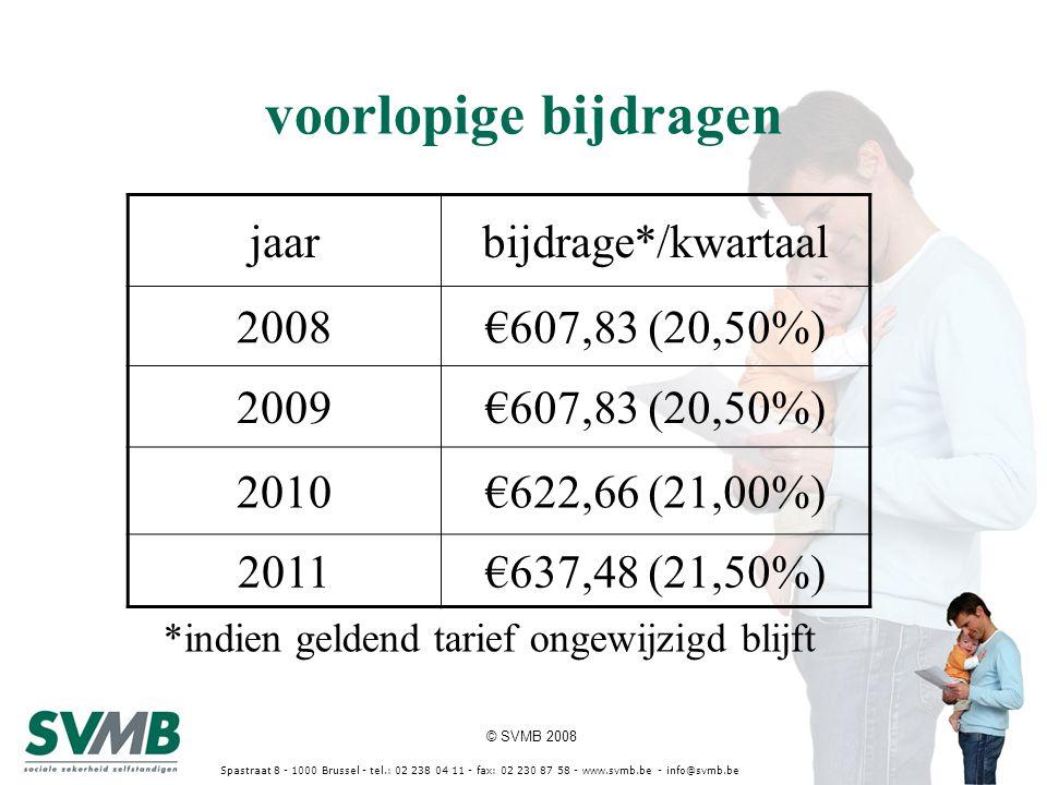 © SVMB 2008 Spastraat 8 - 1000 Brussel - tel.: 02 238 04 11 - fax: 02 230 87 58 - www.svmb.be - info@svmb.be voorlopige bijdragen jaarbijdrage*/kwarta