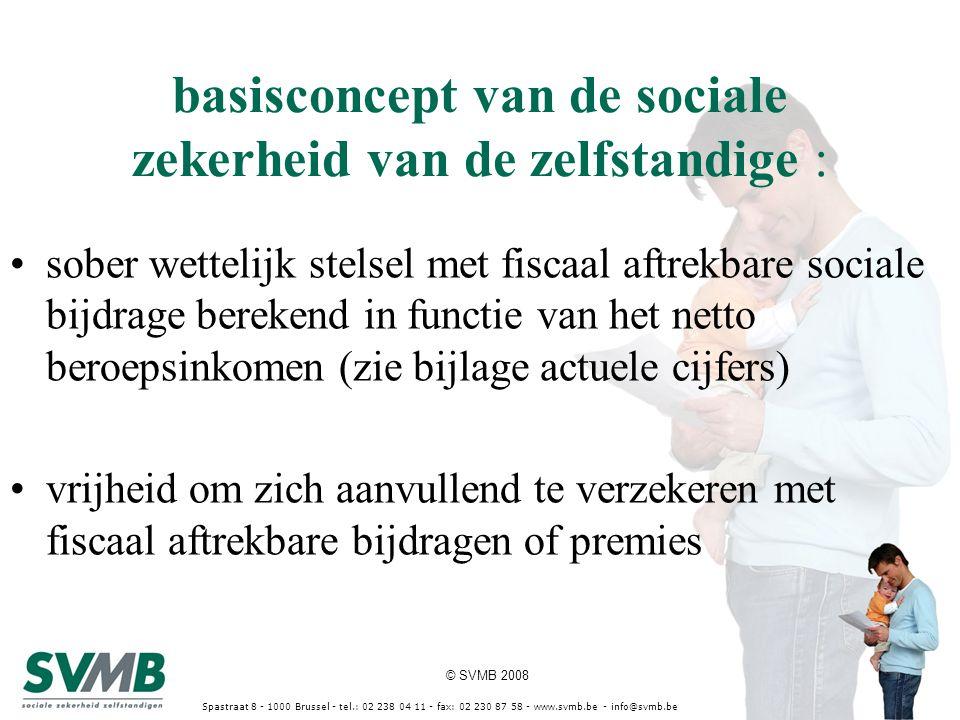 © SVMB 2008 Spastraat 8 - 1000 Brussel - tel.: 02 238 04 11 - fax: 02 230 87 58 - www.svmb.be - info@svmb.be basisconcept van de sociale zekerheid van