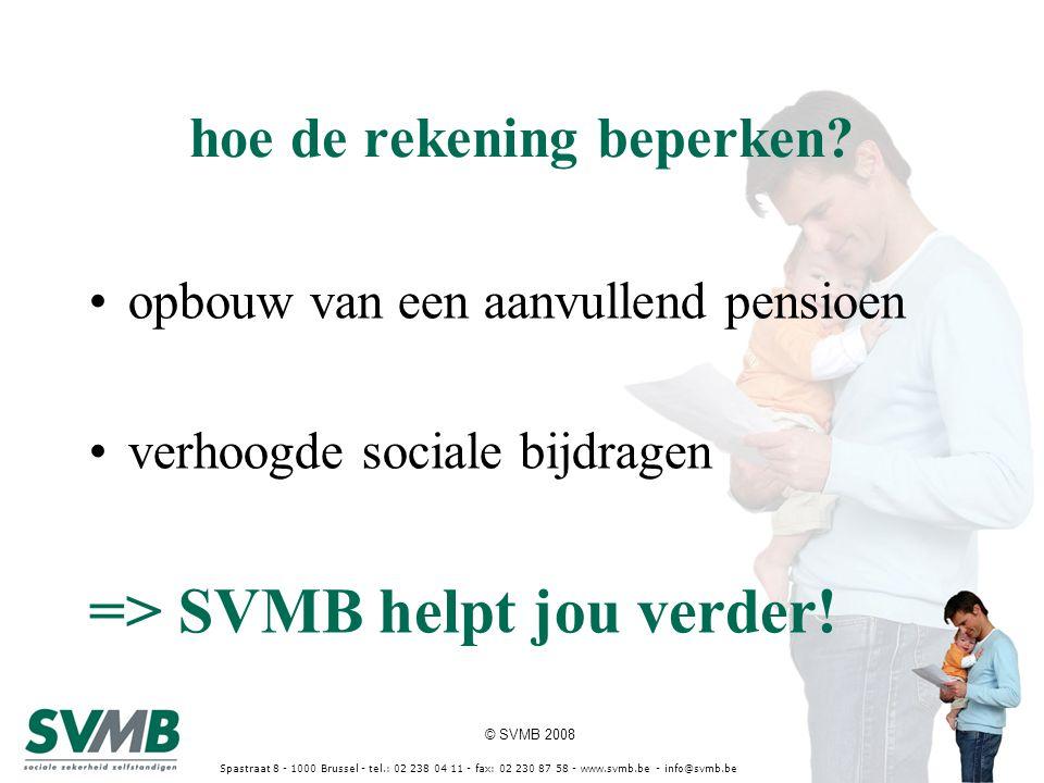 © SVMB 2008 Spastraat 8 - 1000 Brussel - tel.: 02 238 04 11 - fax: 02 230 87 58 - www.svmb.be - info@svmb.be hoe de rekening beperken? opbouw van een