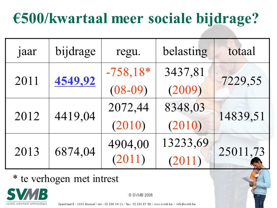 © SVMB 2008 Spastraat 8 - 1000 Brussel - tel.: 02 238 04 11 - fax: 02 230 87 58 - www.svmb.be - info@svmb.be €500/kwartaal meer sociale bijdrage? jaar