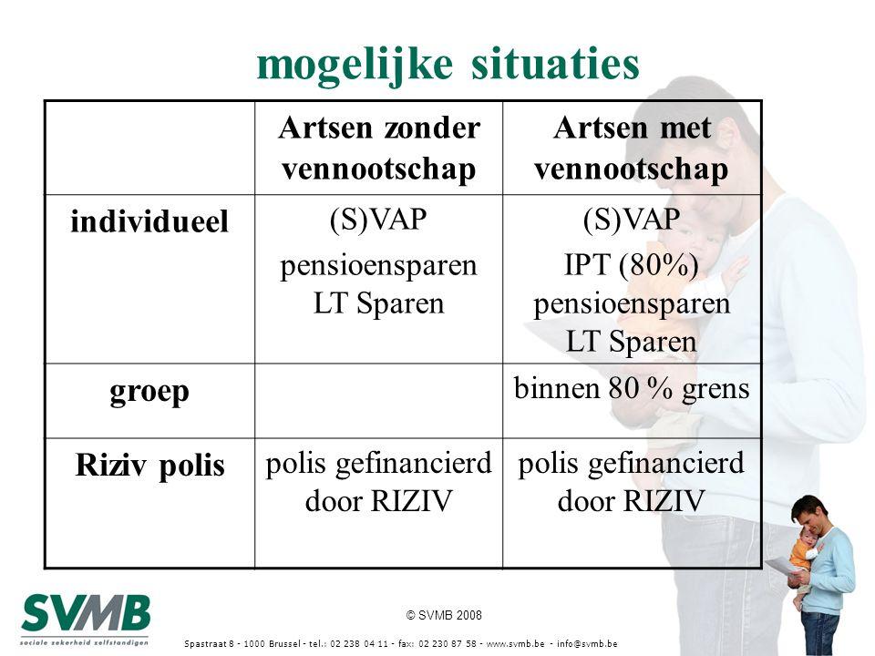 © SVMB 2008 Spastraat 8 - 1000 Brussel - tel.: 02 238 04 11 - fax: 02 230 87 58 - www.svmb.be - info@svmb.be Artsen zonder vennootschap Artsen met ven