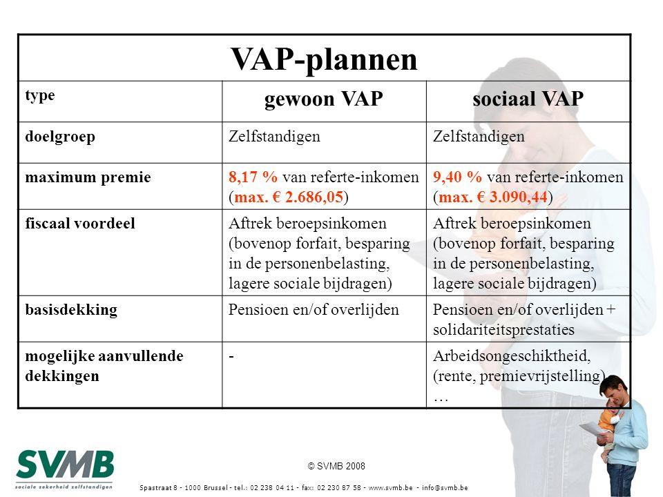 © SVMB 2008 Spastraat 8 - 1000 Brussel - tel.: 02 238 04 11 - fax: 02 230 87 58 - www.svmb.be - info@svmb.be VAP-plannen type gewoon VAPsociaal VAP do