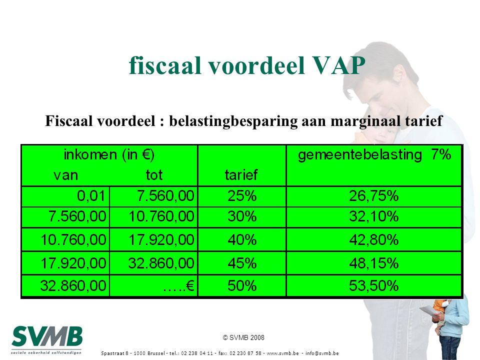 © SVMB 2008 Spastraat 8 - 1000 Brussel - tel.: 02 238 04 11 - fax: 02 230 87 58 - www.svmb.be - info@svmb.be Fiscaal voordeel : belastingbesparing aan