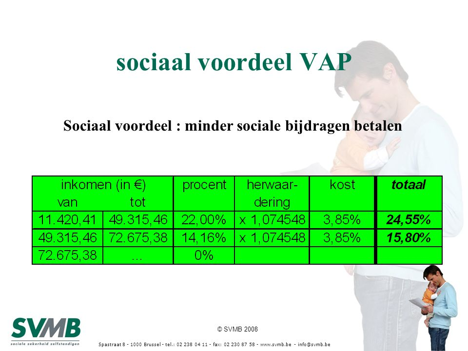 © SVMB 2008 Spastraat 8 - 1000 Brussel - tel.: 02 238 04 11 - fax: 02 230 87 58 - www.svmb.be - info@svmb.be Sociaal voordeel : minder sociale bijdrag