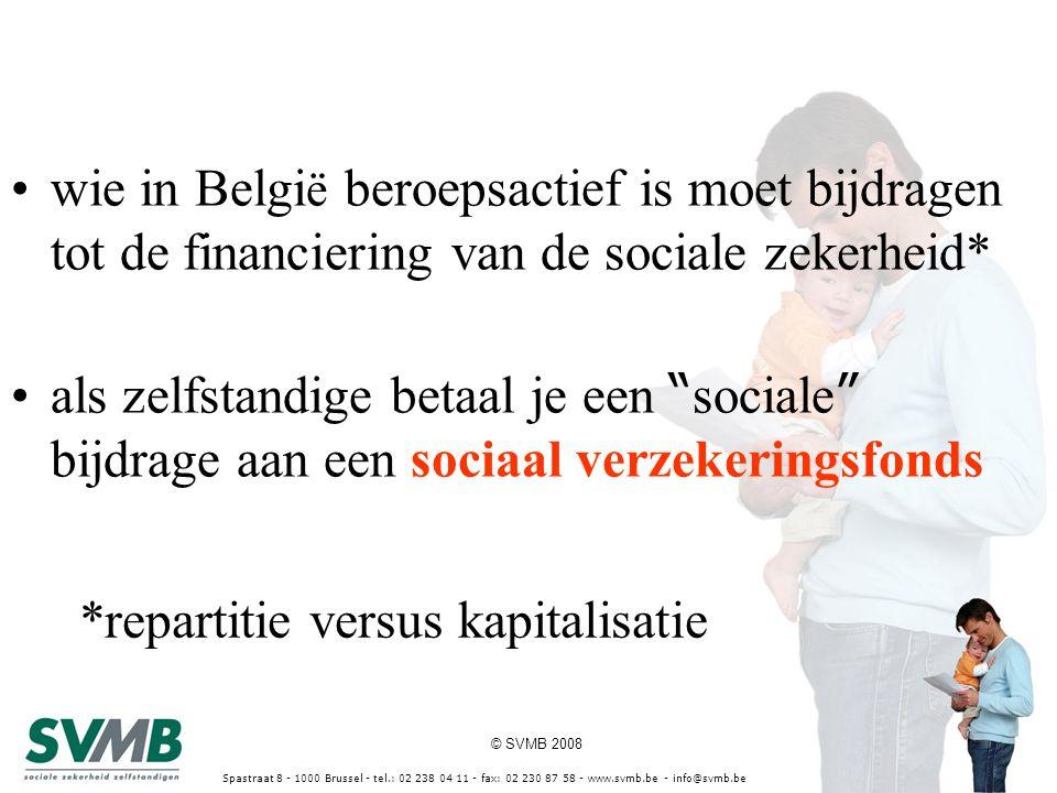 © SVMB 2008 Spastraat 8 - 1000 Brussel - tel.: 02 238 04 11 - fax: 02 230 87 58 - www.svmb.be - info@svmb.be uw gesprekspartner SVMB vzw, sociaal verzekeringsfonds voor zelfstandigen - vrije beroepen in raad van bestuur -170.000 leden – zelfstandigen - vennootschappen -partner van het VAS, www.vlaamsartsensyndicaat.be en de Federatie voor Vrije en Intellectuele beroepen, www.fvib.bewww.vlaamsartsensyndicaat.bewww.fvib.be -cel Vrij Beroep -25% starters kiezen voor SVMB -37 kantoren en 20 adviseurs -www.svmb.bewww.svmb.be