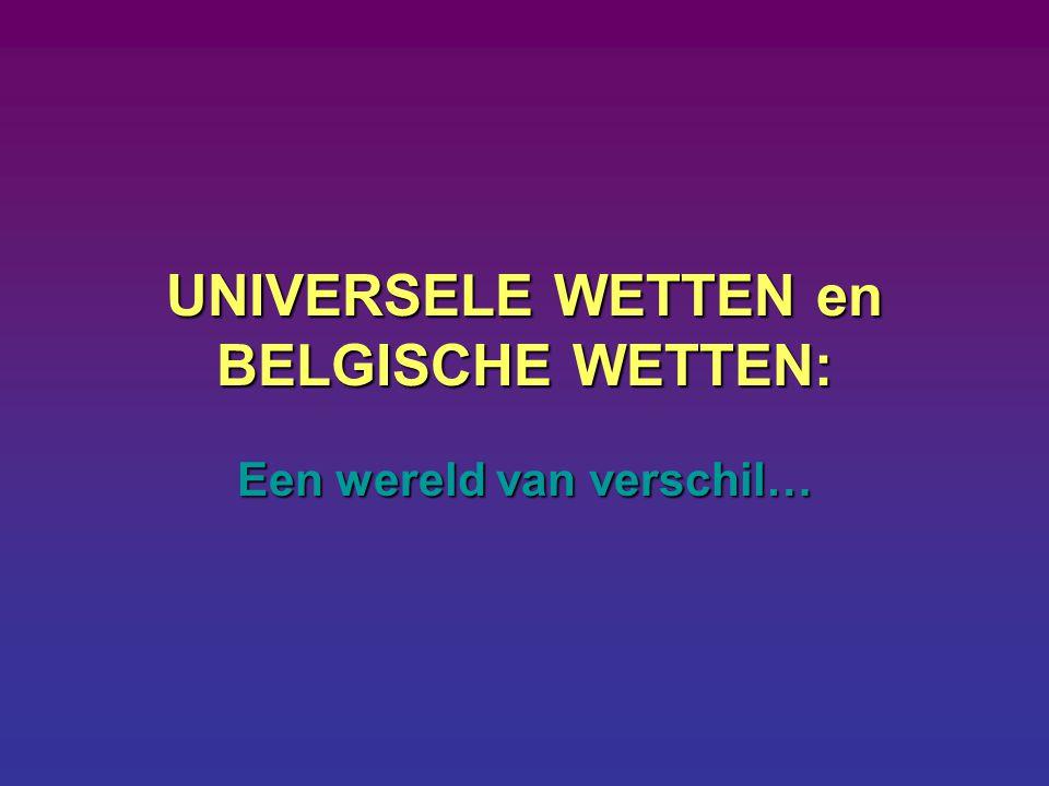 UNIVERSELE WETTEN en BELGISCHE WETTEN: Een wereld van verschil…