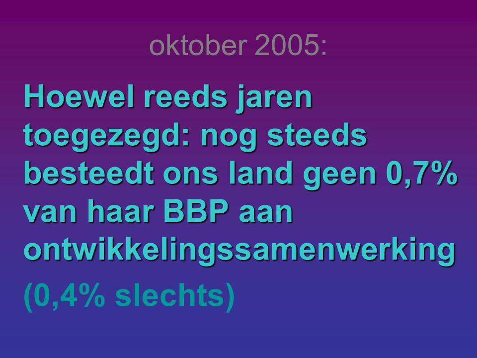 oktober 2005: Hoewel reeds jaren toegezegd: nog steeds besteedt ons land geen 0,7% van haar BBP aan ontwikkelingssamenwerking (0,4% slechts)
