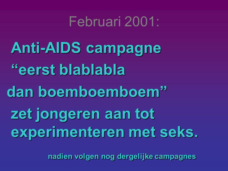 """Februari 2001: Anti-AIDS campagne """"eerst blablabla dan boemboemboem"""" dan boemboemboem"""" zet jongeren aan tot experimenteren met seks. zet jongeren aan"""