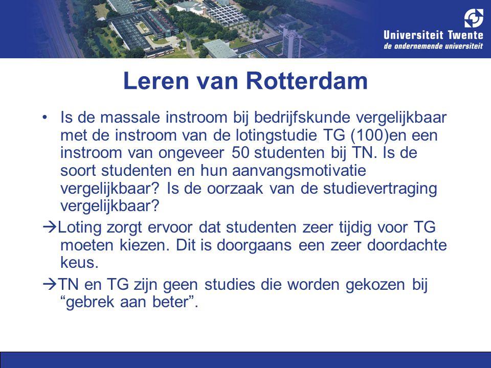 Leren van Rotterdam Is de massale instroom bij bedrijfskunde vergelijkbaar met de instroom van de lotingstudie TG (100)en een instroom van ongeveer 50 studenten bij TN.
