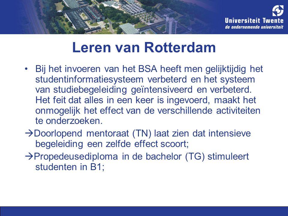 Leren van Rotterdam Bij het invoeren van het BSA heeft men gelijktijdig het studentinformatiesysteem verbeterd en het systeem van studiebegeleiding geïntensiveerd en verbeterd.