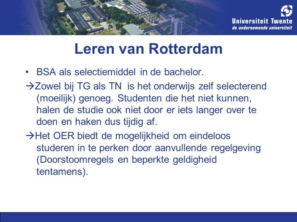 Leren van Rotterdam BSA als selectiemiddel in de bachelor.