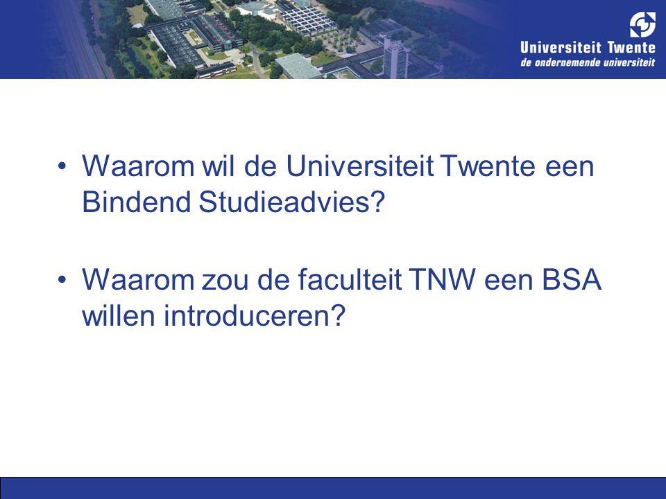 Waarom wil de Universiteit Twente een Bindend Studieadvies.