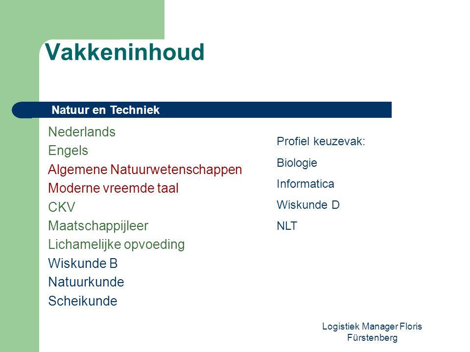 Logistiek Manager Floris Fürstenberg Nederlands Engels Algemene Natuurwetenschappen Moderne vreemde taal CKV Maatschappijleer Lichamelijke opvoeding W