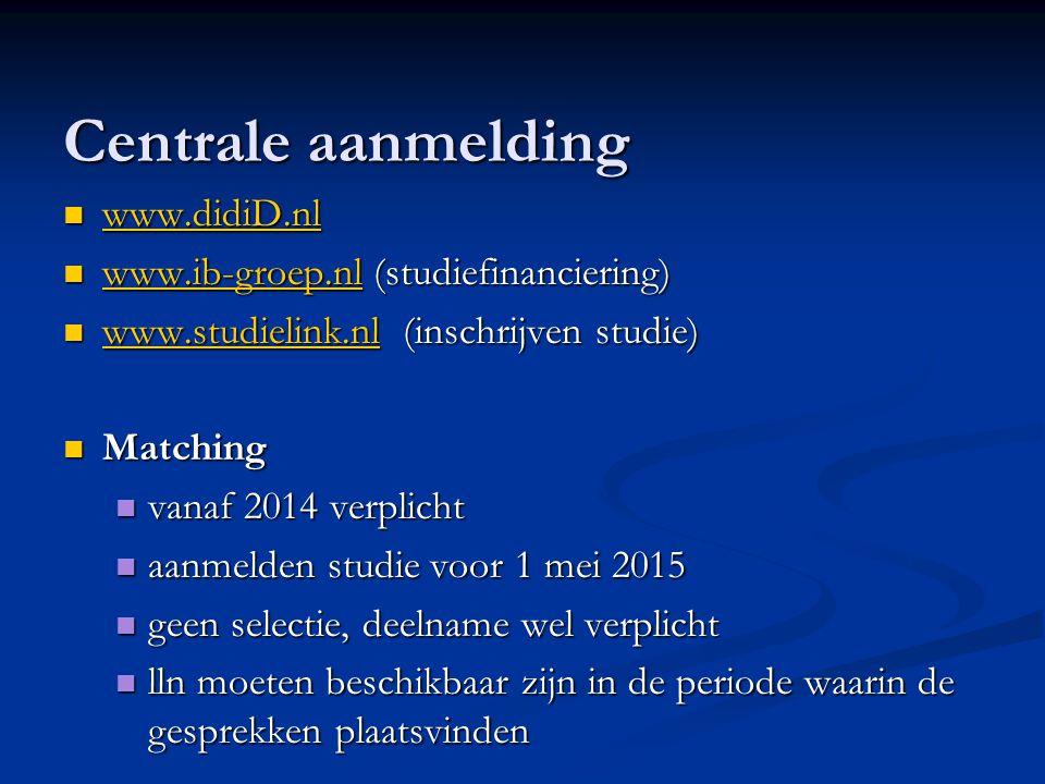 Centrale aanmelding www.didiD.nl www.didiD.nl www.didiD.nl www.ib-groep.nl (studiefinanciering) www.ib-groep.nl (studiefinanciering) www.ib-groep.nl w