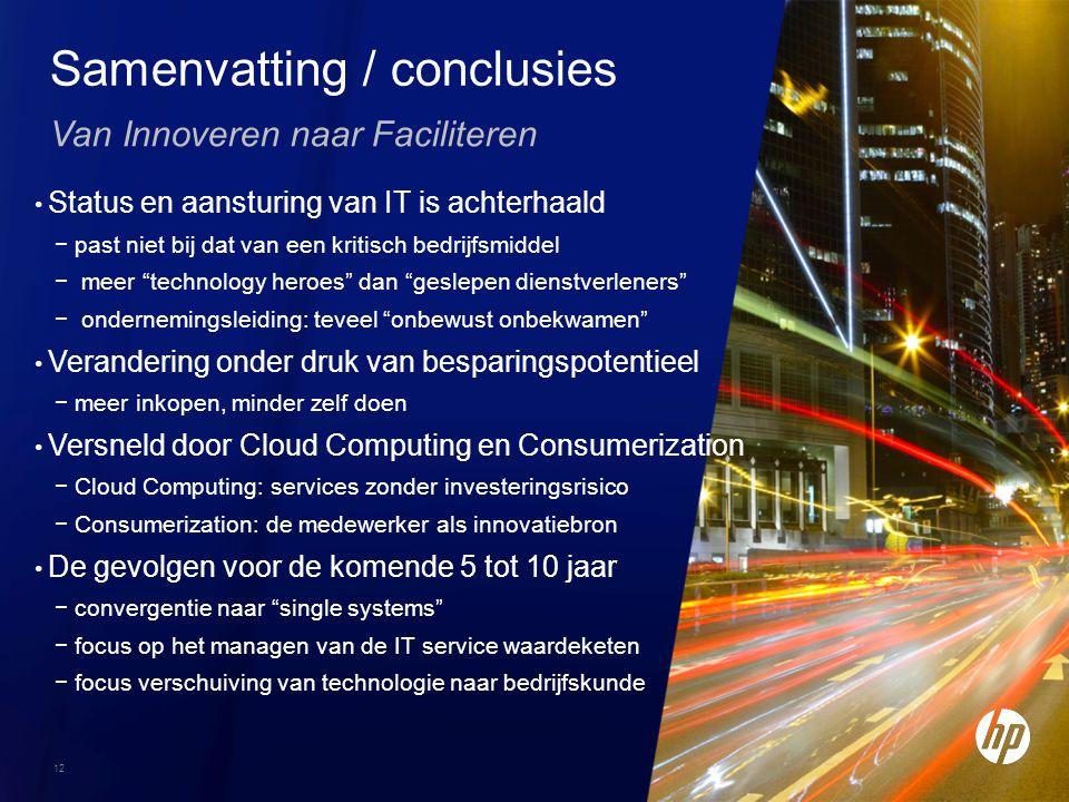 12 Van Innoveren naar Faciliteren Samenvatting / conclusies Status en aansturing van IT is achterhaald −past niet bij dat van een kritisch bedrijfsmid
