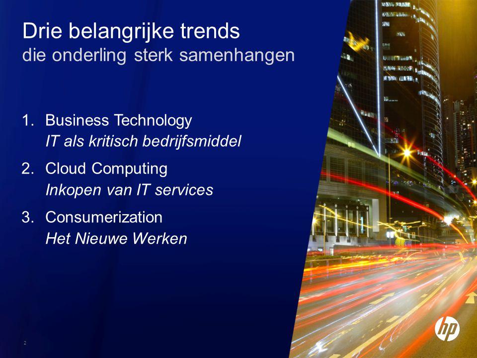 2 Drie belangrijke trends die onderling sterk samenhangen 1.Business Technology IT als kritisch bedrijfsmiddel 2.Cloud Computing Inkopen van IT servic