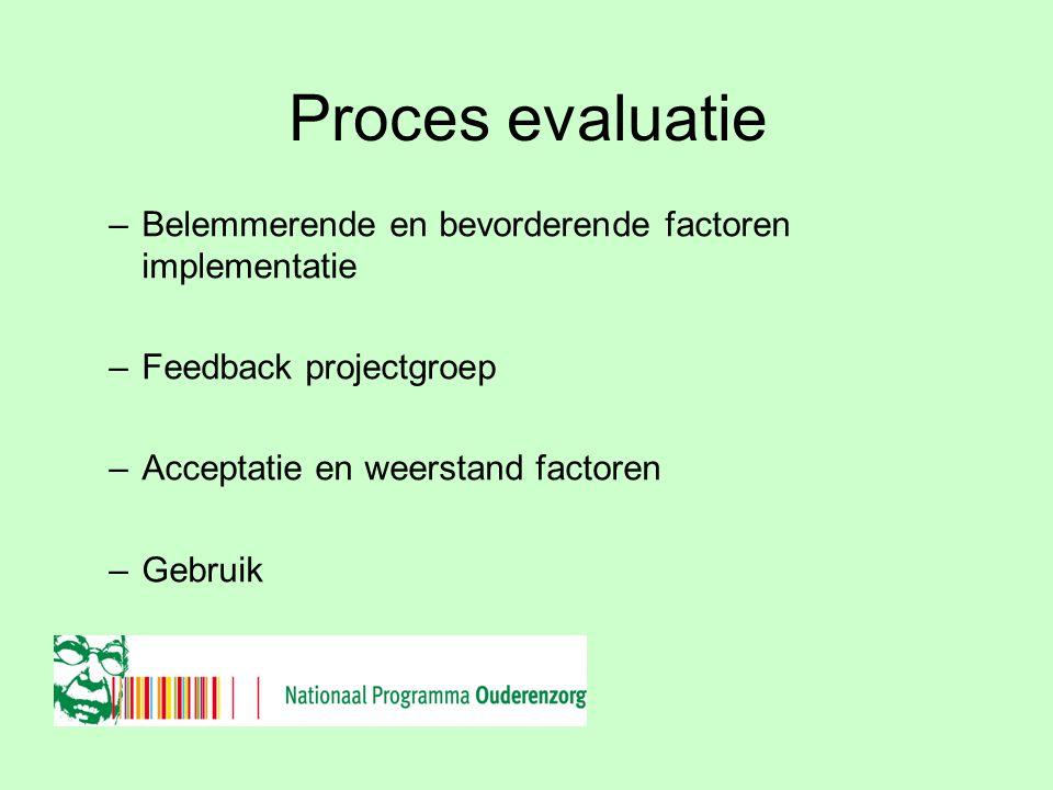 Netwerk Ouderenzorg Regio Noord Proces evaluatie –Belemmerende en bevorderende factoren implementatie –Feedback projectgroep –Acceptatie en weerstand