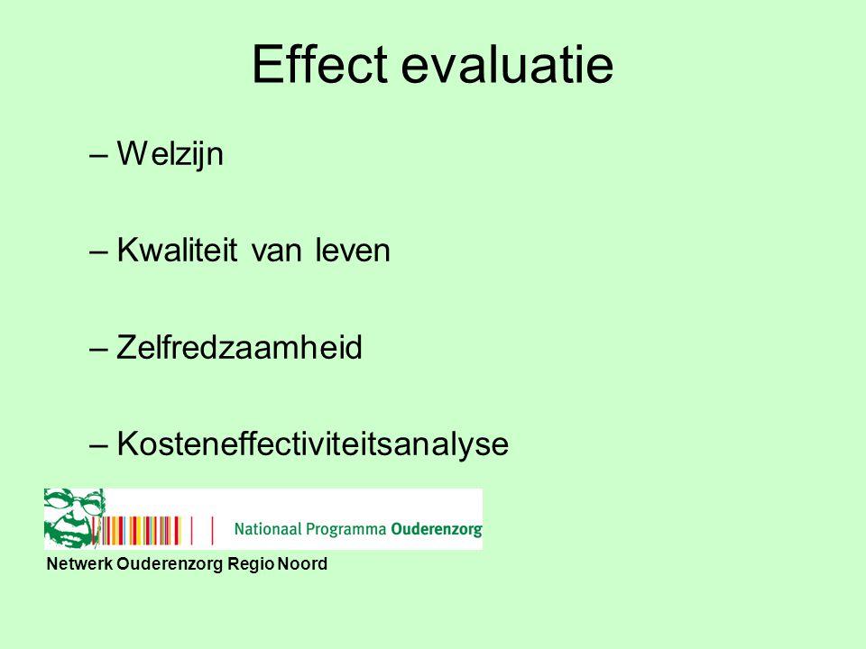 Netwerk Ouderenzorg Regio Noord Effect evaluatie –Welzijn –Kwaliteit van leven –Zelfredzaamheid –Kosteneffectiviteitsanalyse