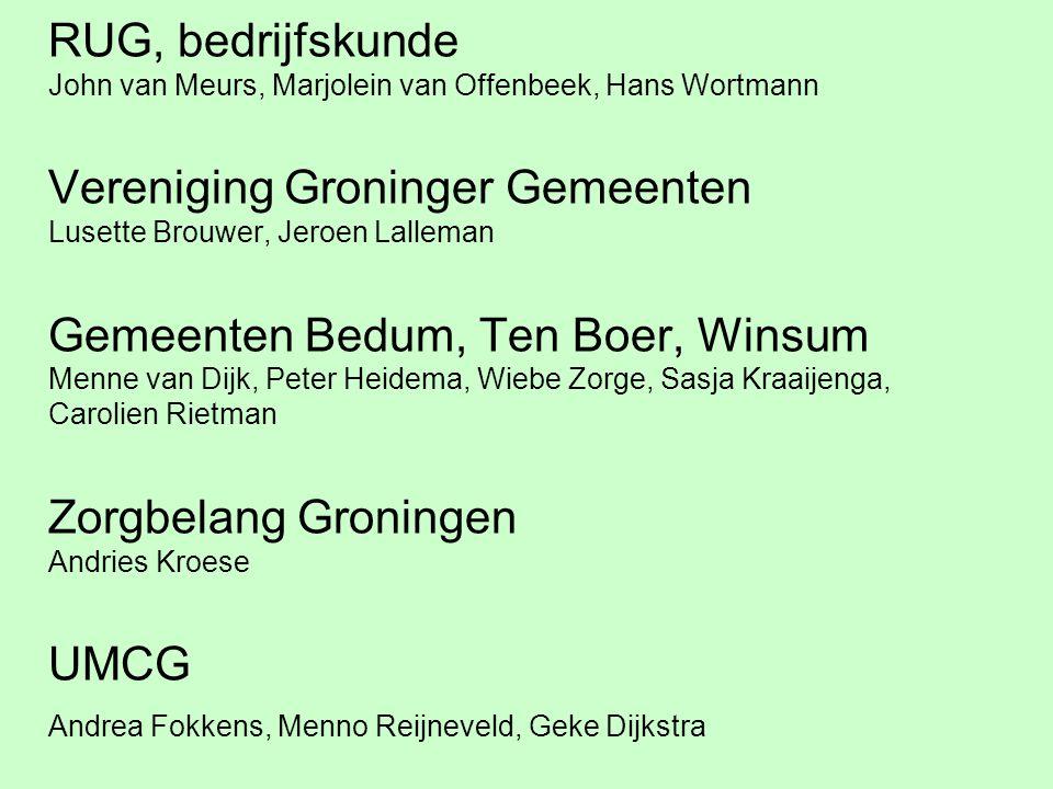 RUG, bedrijfskunde John van Meurs, Marjolein van Offenbeek, Hans Wortmann Vereniging Groninger Gemeenten Lusette Brouwer, Jeroen Lalleman Gemeenten Be