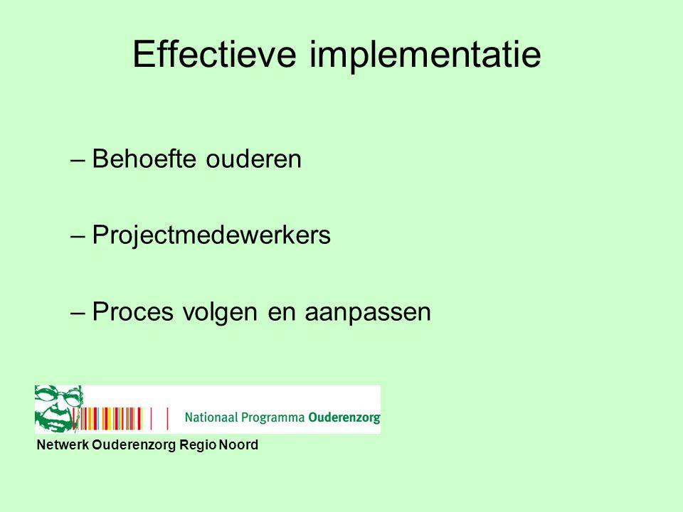 Netwerk Ouderenzorg Regio Noord Proces evaluatie –Belemmerende en bevorderende factoren implementatie –Feedback projectgroep –Acceptatie en weerstand factoren –Gebruik