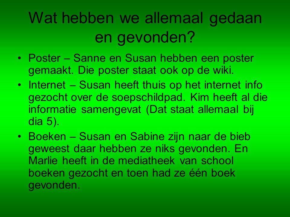 Wat hebben we allemaal gedaan en gevonden.Poster – Sanne en Susan hebben een poster gemaakt.