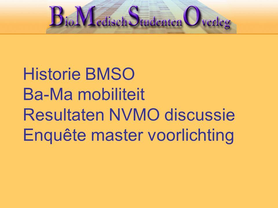 Historie BMSO Ba-Ma mobiliteit Resultaten NVMO discussie Enquête master voorlichting