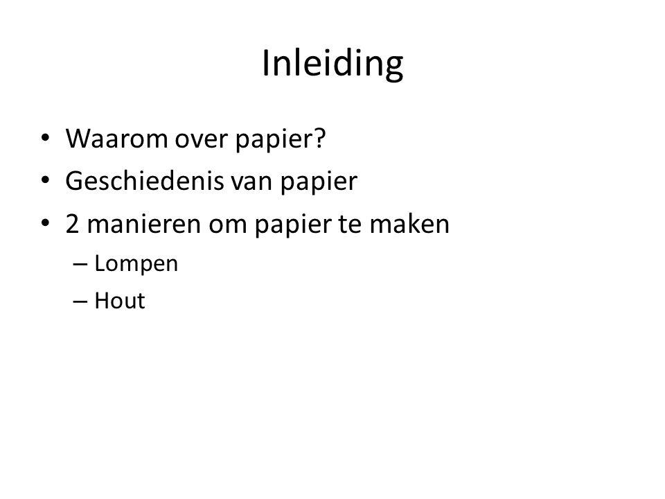 Inleiding Waarom over papier? Geschiedenis van papier 2 manieren om papier te maken – Lompen – Hout