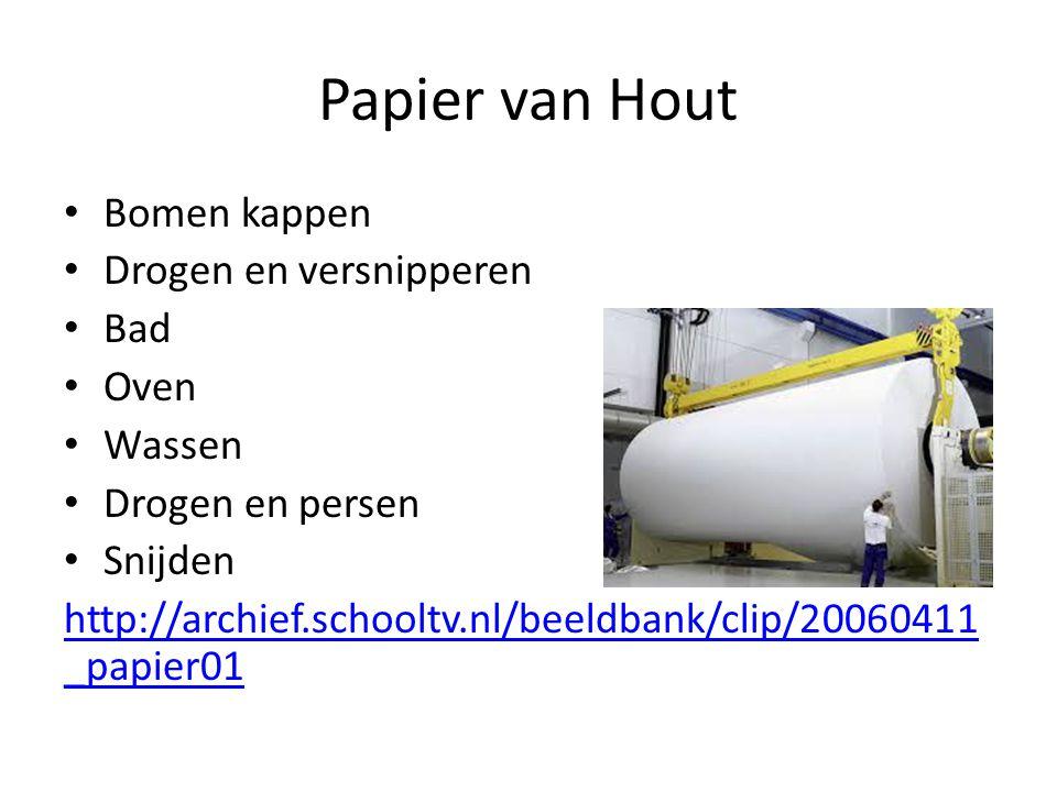 Papier van Hout Bomen kappen Drogen en versnipperen Bad Oven Wassen Drogen en persen Snijden http://archief.schooltv.nl/beeldbank/clip/20060411 _papie