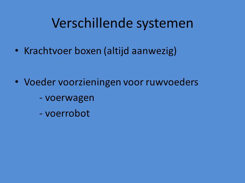 Verschillende systemen Krachtvoer boxen (altijd aanwezig) Voeder voorzieningen voor ruwvoeders - voerwagen - voerrobot
