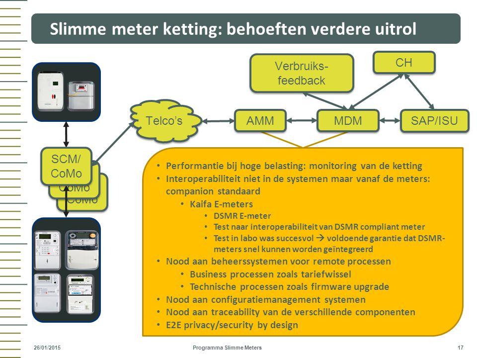 SCM/ CoMo Slimme meter ketting: behoeften verdere uitrol Programma Slimme Meters 17 26/01/2015 Telco's SAP/ISU SCM/ CoMo CH Performantie bij hoge bela