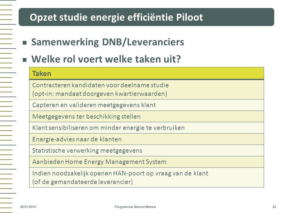 Samenwerking DNB/Leveranciers Welke rol voert welke taken uit? Opzet studie energie efficiëntie Piloot Programma Slimme Meters 25 26/01/2015 Taken Con