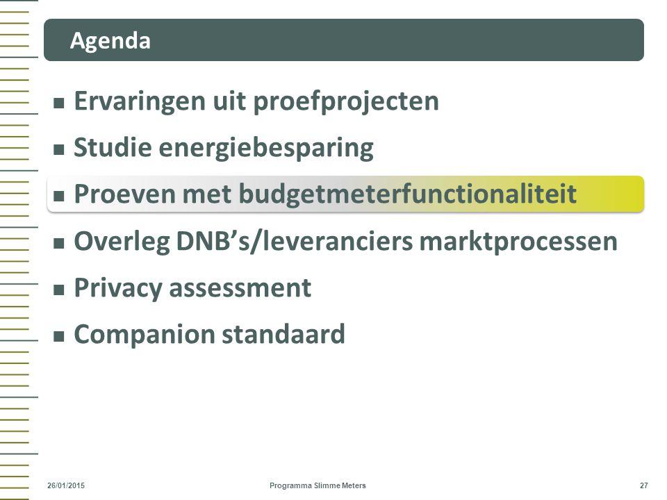 Ervaringen uit proefprojecten Studie energiebesparing Proeven met budgetmeterfunctionaliteit Overleg DNB's/leveranciers marktprocessen Privacy assessm