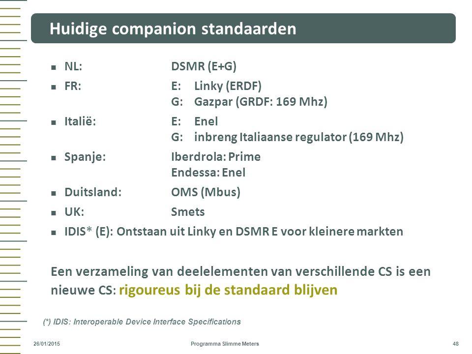 NL:DSMR (E+G) FR:E:Linky (ERDF) G:Gazpar (GRDF: 169 Mhz) Italië:E:Enel G:inbreng Italiaanse regulator (169 Mhz) Spanje:Iberdrola: Prime Endessa: Enel