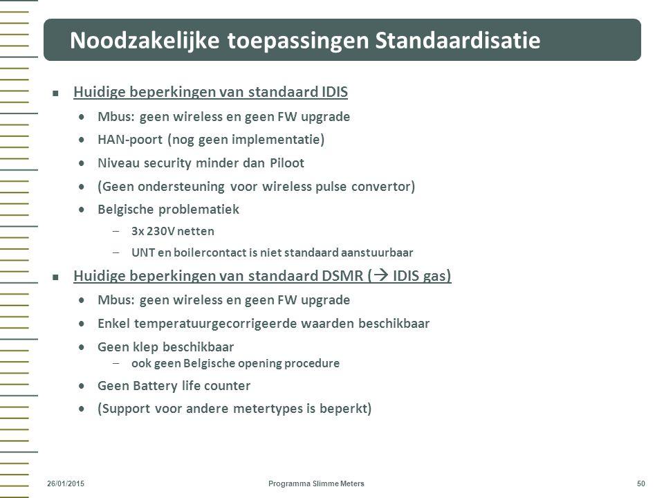 Huidige beperkingen van standaard IDIS  Mbus: geen wireless en geen FW upgrade  HAN-poort (nog geen implementatie)  Niveau security minder dan Pilo
