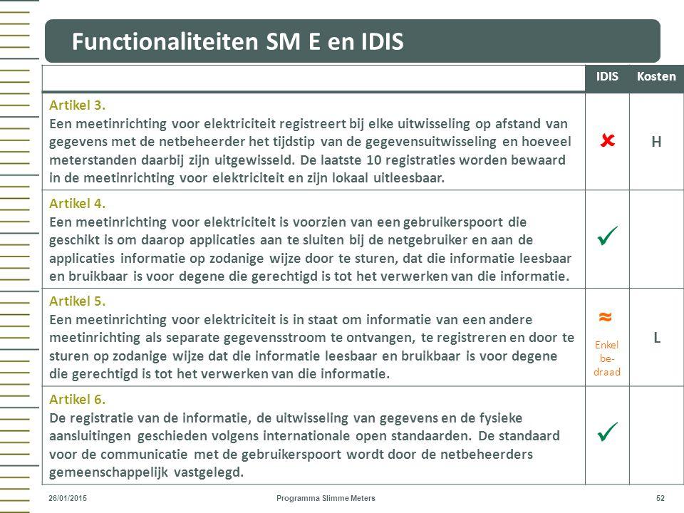Functionaliteiten SM E en IDIS Programma Slimme Meters 52 26/01/2015 ~ ~ IDISKosten Artikel 3. Een meetinrichting voor elektriciteit registreert bij e