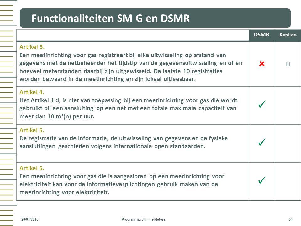 Functionaliteiten SM G en DSMR Programma Slimme Meters 54 26/01/2015 DSMRKosten Artikel 3. Een meetinrichting voor gas registreert bij elke uitwisseli