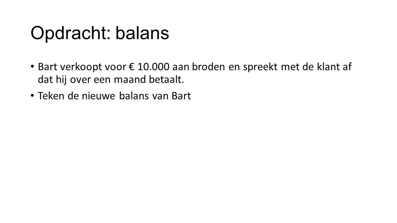 Opdracht: balans Bart verkoopt voor € 10.000 aan broden en spreekt met de klant af dat hij over een maand betaalt. Teken de nieuwe balans van Bart