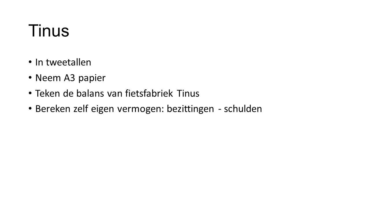 Tinus In tweetallen Neem A3 papier Teken de balans van fietsfabriek Tinus Bereken zelf eigen vermogen: bezittingen - schulden