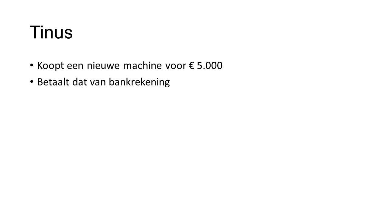 Tinus Koopt een nieuwe machine voor € 5.000 Betaalt dat van bankrekening