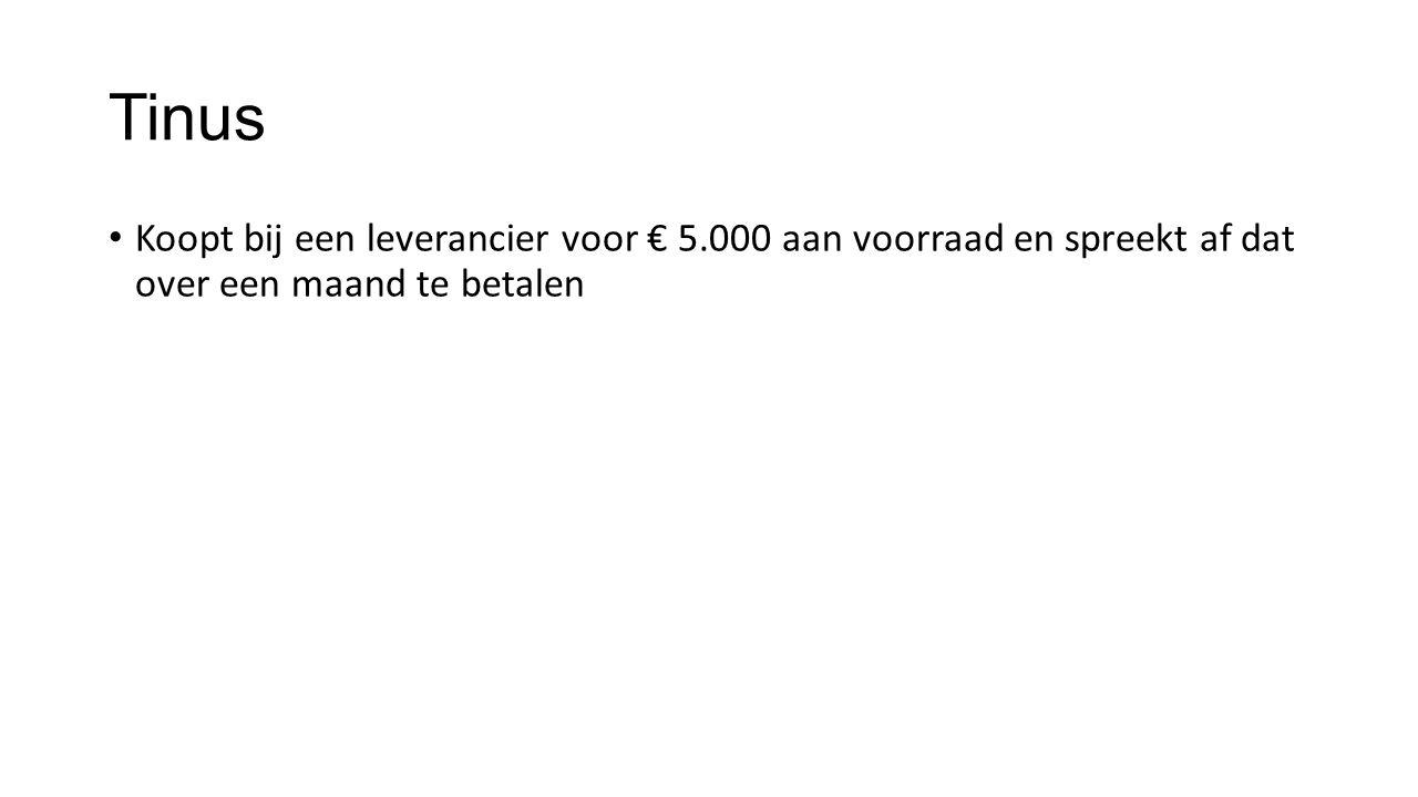 Tinus Koopt bij een leverancier voor € 5.000 aan voorraad en spreekt af dat over een maand te betalen