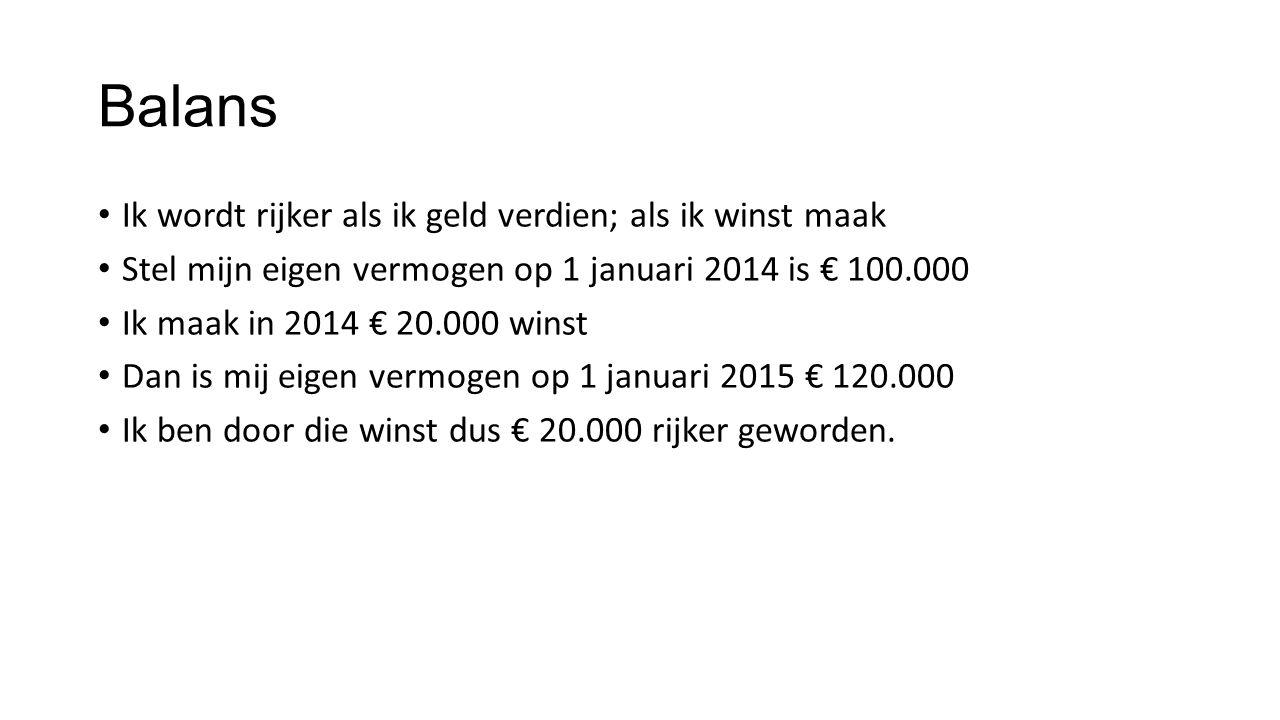 Balans Ik wordt rijker als ik geld verdien; als ik winst maak Stel mijn eigen vermogen op 1 januari 2014 is € 100.000 Ik maak in 2014 € 20.000 winst D