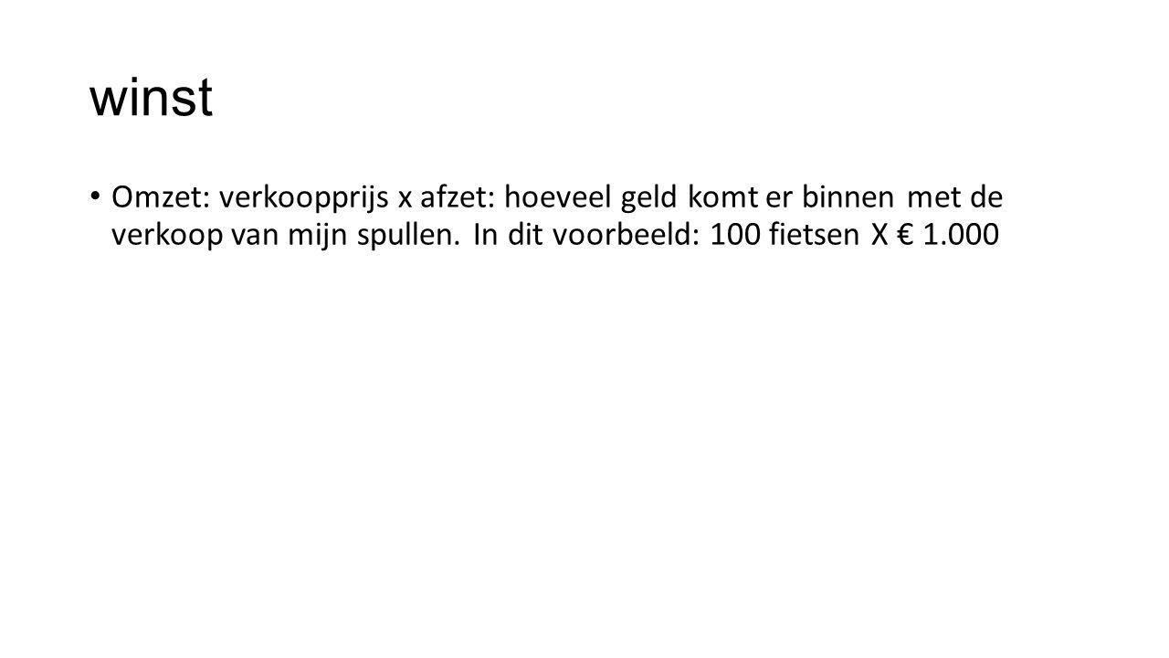 winst Omzet: verkoopprijs x afzet: hoeveel geld komt er binnen met de verkoop van mijn spullen. In dit voorbeeld: 100 fietsen X € 1.000