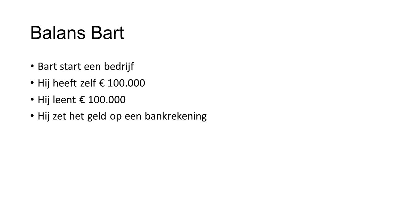 Balans Bart ActivaPassiva Bank 70.000Eigen vermogen100.000 Bus 40.000Vreemd vermogen 50.000 Meel 20.000Crediteuren 10.000 Machine 20.000 Broden 10.000 totaal160.000totaal160.000