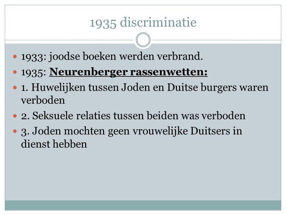 1935 discriminatie 1933: joodse boeken werden verbrand. 1935: Neurenberger rassenwetten: 1. Huwelijken tussen Joden en Duitse burgers waren verboden 2