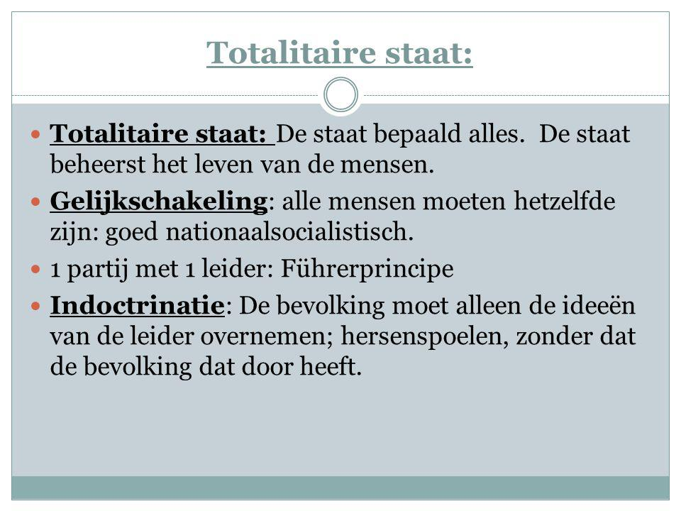 Totalitaire staat: Totalitaire staat: De staat bepaald alles. De staat beheerst het leven van de mensen. Gelijkschakeling: alle mensen moeten hetzelfd
