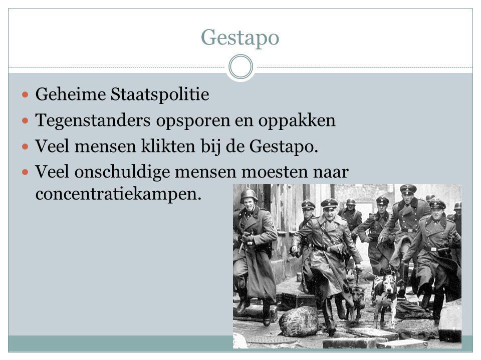 Gestapo Geheime Staatspolitie Tegenstanders opsporen en oppakken Veel mensen klikten bij de Gestapo. Veel onschuldige mensen moesten naar concentratie
