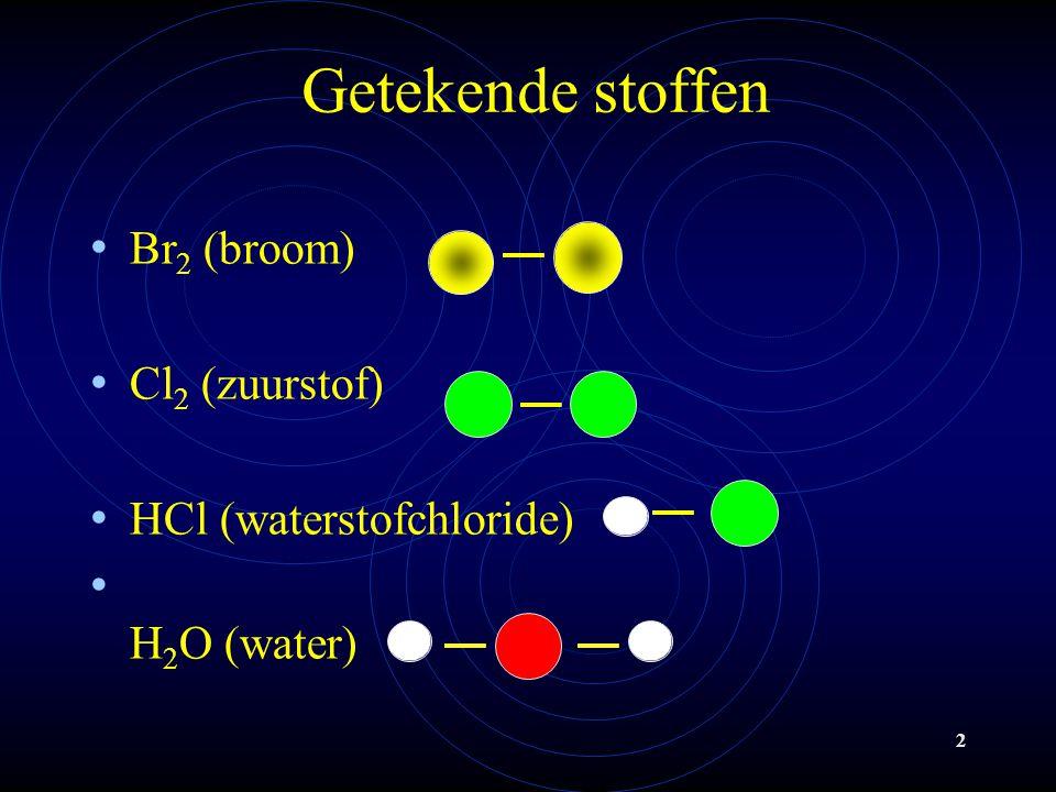 2 Getekende stoffen Br 2 (broom) Cl 2 (zuurstof) HCl (waterstofchloride) H 2 O (water)
