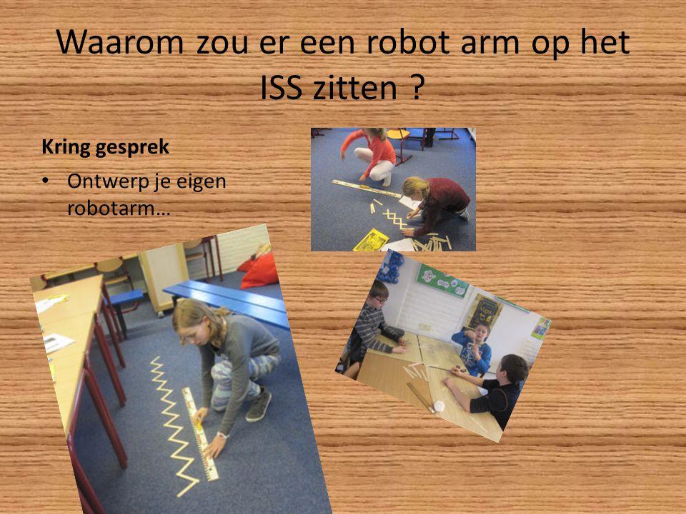 Waarom zou er een robot arm op het ISS zitten ? Kring gesprek Ontwerp je eigen robotarm…